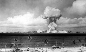 Able, atomic bomb detonated in 1946 by the US Army as part of Operation Crossroads. Photo by US